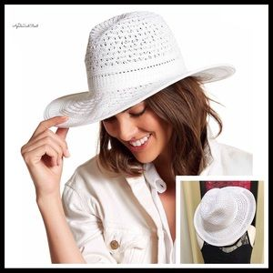 Accessories - WHITE WOVEN PANAMA FEDORA WIDE BRIM HAT